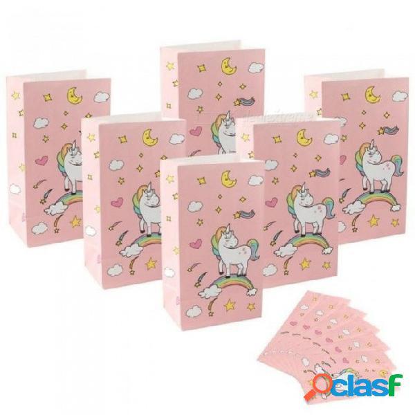36 unids unicornio bolsas de regalo suministros de envoltura bolsa de papel kraft dulces y barra de caramelo bolsas de embalaje fiesta de cumpleaños decoración 12x8x22cm / rosa
