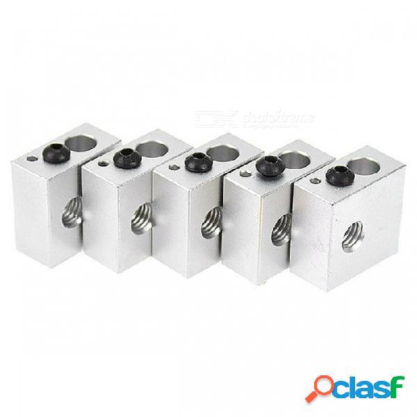 Bloque de calentamiento de fijación de aleación de aluminio zhaoyao mk7 / mk8 para impresora 3d (5 pcs)