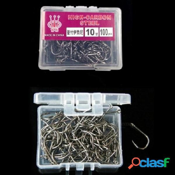Los ganchos de pesca de acero al carbono se fijan en anzuelos con forma de anzuelo con agujero para accesorios de pesca pesca 3 -12 100pcs
