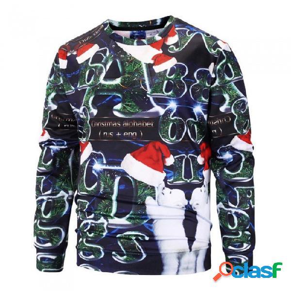 Otoño, invierno, números de árboles de navidad, sudadera con estampado de sombreros, para hombres, camiseta con o-cuello informal, manga larga, sudadera con capucha verde / m.