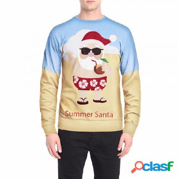 Otoño invierno papá noel en sudadera con estampado festivo para hombre casual o-cuello manga larga sudadera top beige / m