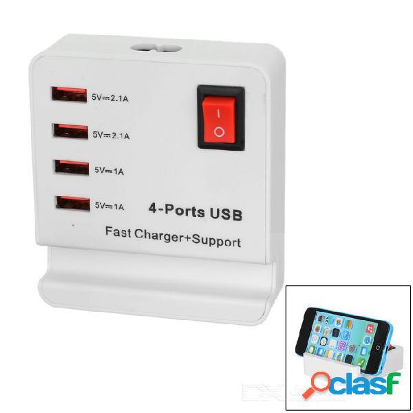 Usb 2.0 cargador de 4 puertos con interruptor, soporte de teléfono + cable de enchufe de la ue - blanco