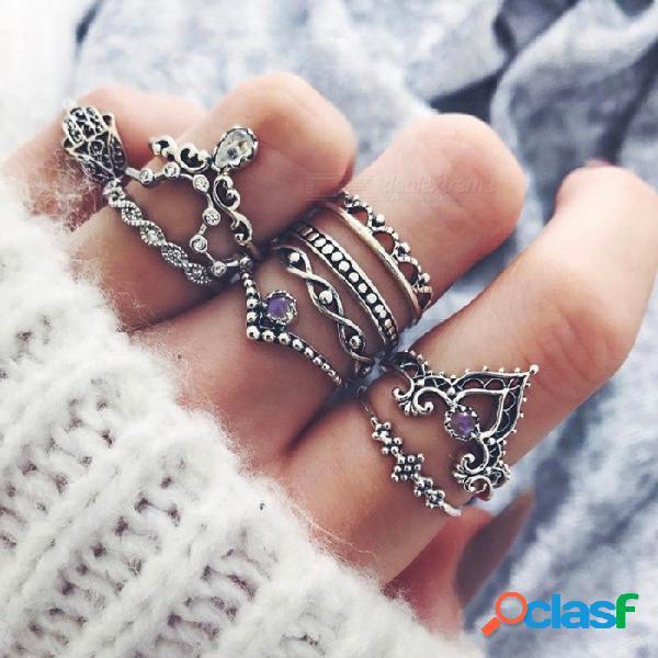 Vintage con incrustaciones de piedras preciosas calado calado corona de la palma 10 piezas conjunto conjunto de cristal conjunto anillo de plata