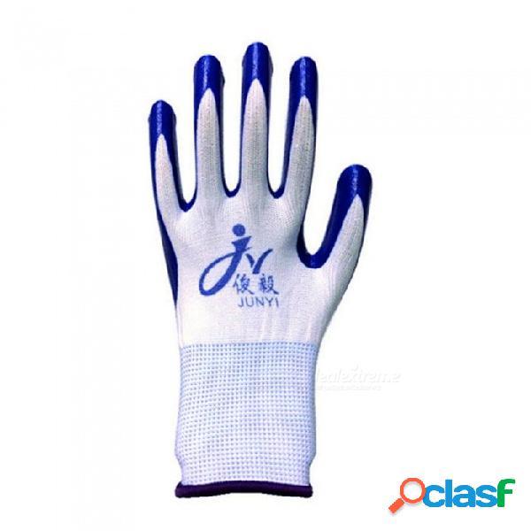 42 g de látex de caucho nitrilo, cómodos guantes antideslizantes antideslizantes de protección laboral para el hogar del jardín (1 par) azul