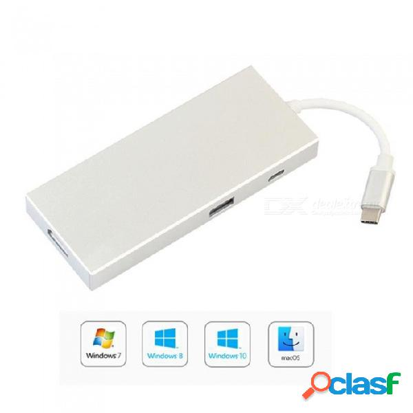 Adaptador av digital 7 en 1, concentrador hdmi 4k 3.1 tipo-c con lector de tarjetas sd sdxc tf - plateado