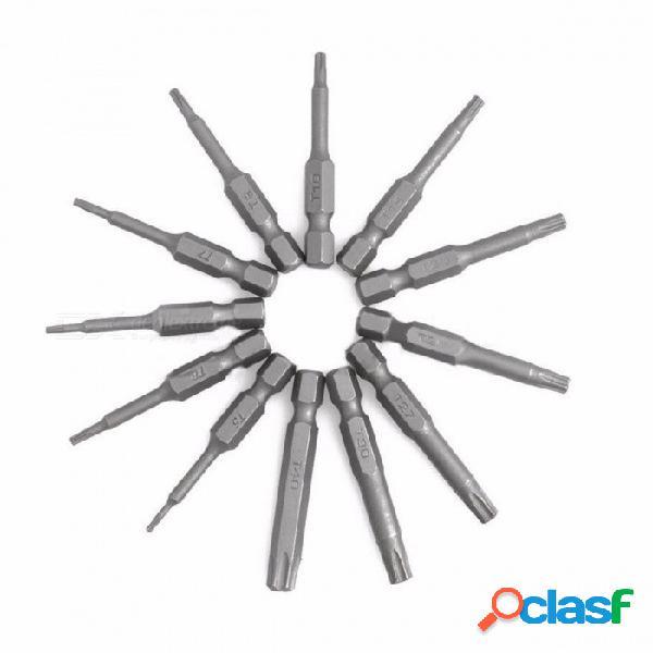 Alta calidad 1/4 pulgadas 50 mm t5-t40 aleación de acero torx destornillador bits kit de herramientas de juego de herramientas (12 unidades por paquete) negro