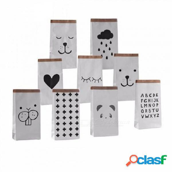Bolsa de almacenamiento de papel kraft pesado de dibujos animados bolsa paquete para niños juguetes ropa para la ropa artículos diversos organizador decoración para el hogar regalo carta