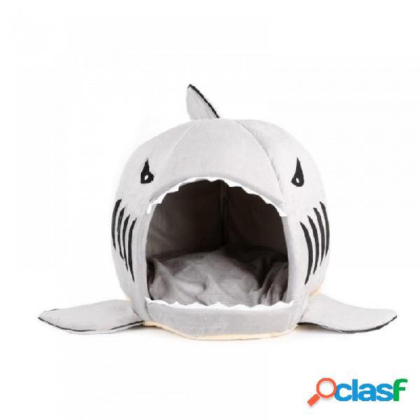 Cachorro lindo tiburón boca mascota perro gato cama perrera, sofá de sofá de mascota de dibujos animados lavable extraíble sofá