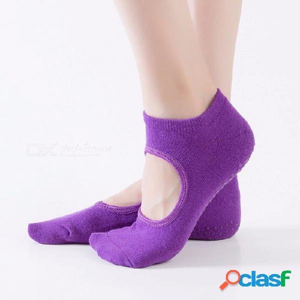 Calcetines de yoga para mujer terry sin espalda algodón antideslizante calcetines de pilates calcetines de silicona invisibles 1 par para el tamaño 34-39