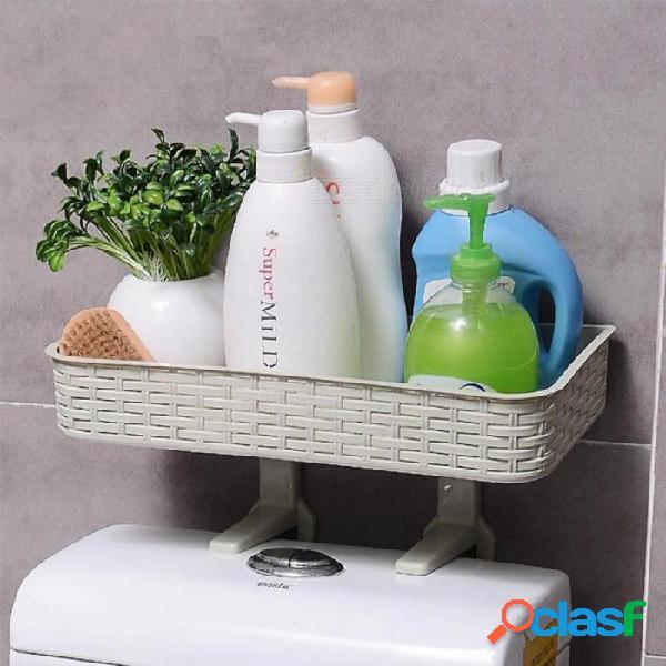 Hogar baño estante de almacenamiento multifunción fuerte estante adhesivo artículos de tocador estantes para baño organizador accesorios de color caqui