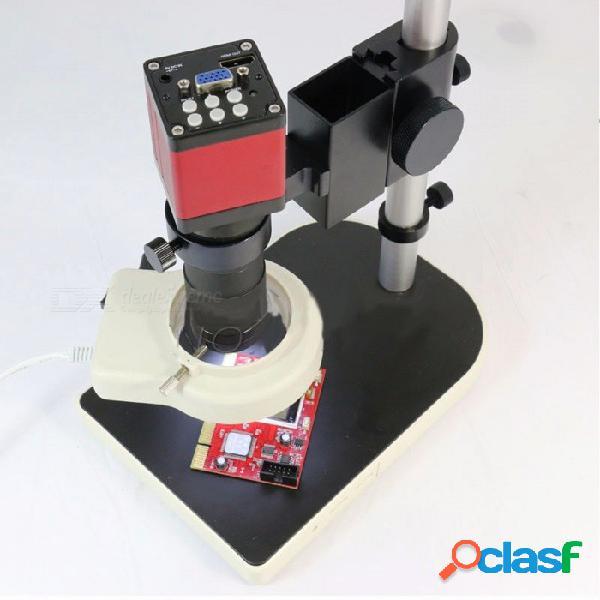 Microscopio hd 13.0mp cámara de microscopio industrial vga hdmi + 130x lente de montaje c + 56 led anillo de luz + soporte titular colorido
