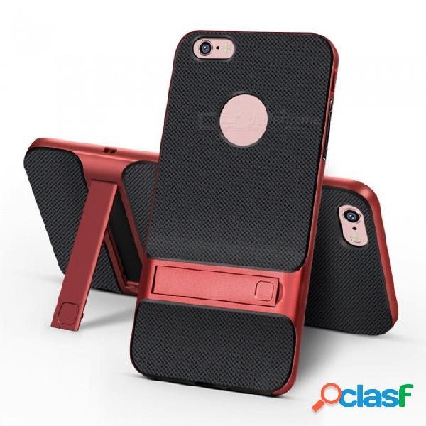 Naxtop 2-en-1 soft tpu + pc duro parachoques de doble capa cubierta trasera con soporte para iphone 6 plus