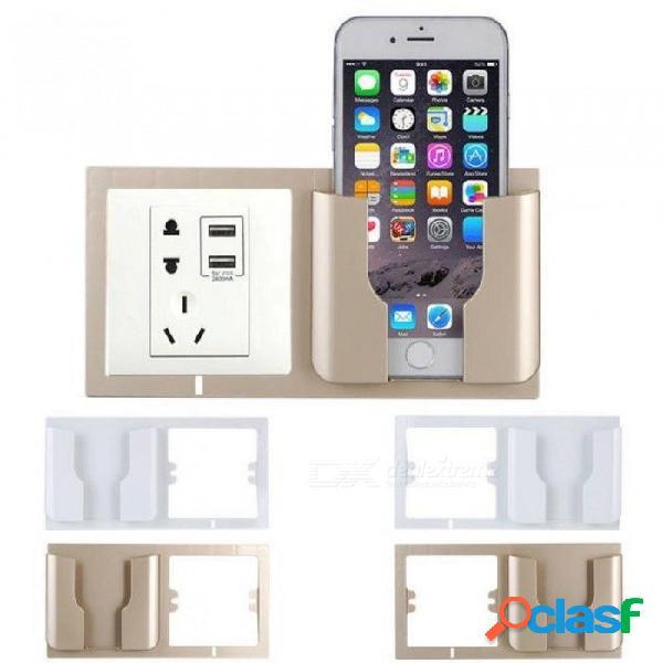 Soporte de teléfono de pared socket soporte de almacenamiento en casa soporte de soporte soporte de teléfono móvil soporte de soporte de pared soporte de oro