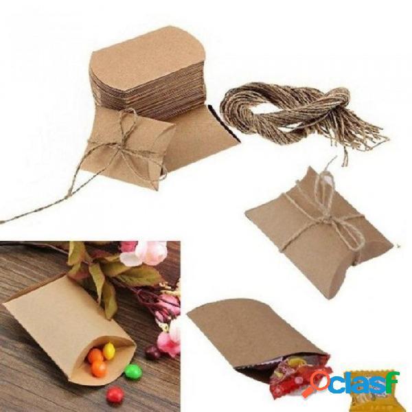 50 unids lindo papel de kraft almohada caja del favor del favor del banquete de boda regalo cajas de dulces fiesta en casa fuente de cumpleaños 50 unids