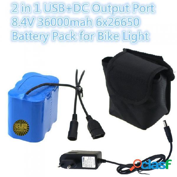 Batería de litio recargable zhaoyao 4.2v 36000mah 6 x 26650 con cargador de enchufe de la ue para luz de bicicleta de montaña