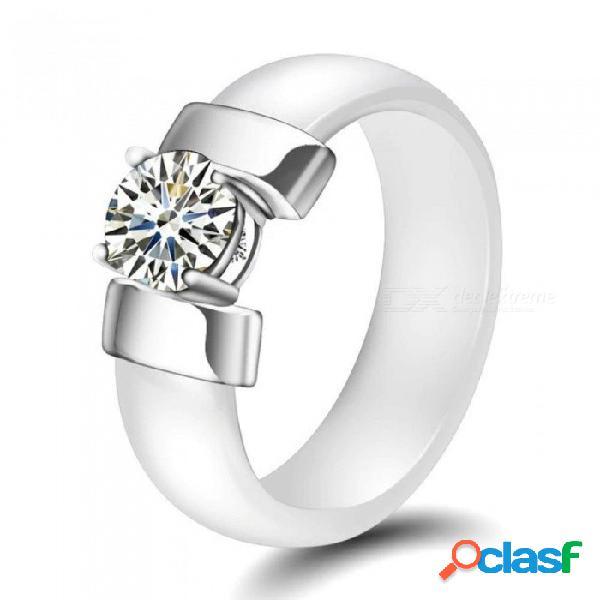 Blanco negro anillos de cerámica más zirconia cúbica para las mujeres de color oro acero inoxidable anillo de bodas joyería de compromiso 6 mm blanco / 6