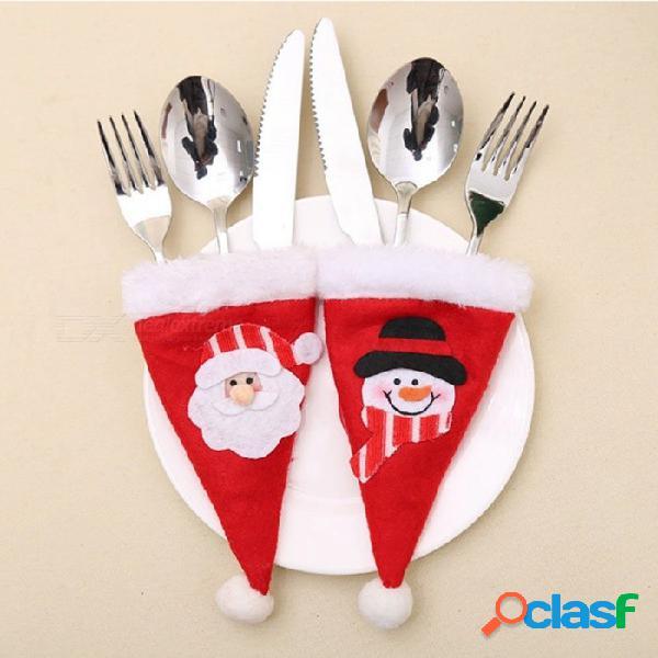Bolsa de almacenamiento de sombrero de sombrero de tenedor de tenedor para hombre viejo y muñeco de nieve para decoración de navidad (2 pcs)
