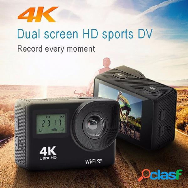 Cámara de acción deportiva wi-fi 4k hd 1080p de doble pantalla impermeable, cámara dv de buceo para exteriores, negro