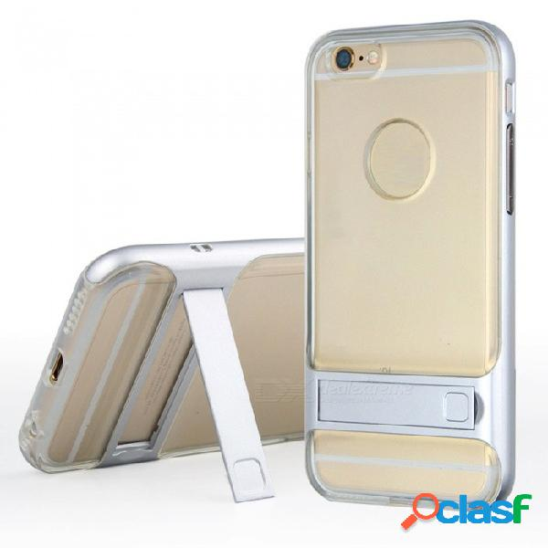 Contraportada de tpu suave transparente naxtop + parachoques de pc duro de doble capa 2 en 1 con soporte para iphone 6 plus
