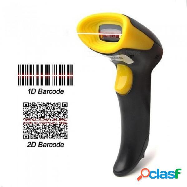 Escáner de código de barras 2d con cable plug and play compatible con cable usb código ean pdf417 código de 128 códigos upc 128ampara color negro amarillento