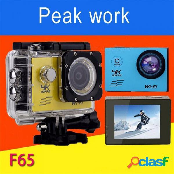F65 portátil 30 fps 4k hd cámara de deportes dv, cámara de video wi-fi a prueba de agua videocámara negra