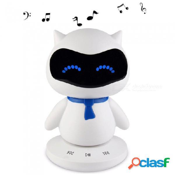 Mini portátil lindo robot inteligente altavoz bluetooth con llamadas de música tf mp3 aux función manos libres para todos los dispositivos bluetooth blanco / altavoz