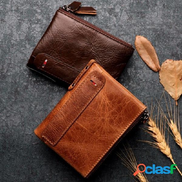 Monedero multifuncional para hombre de alta calidad de cuero genuino doblez con cremallera cartera monedero con varias tarjetas titular negro
