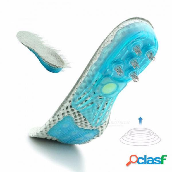 Plantilla para correr deportiva antideslizante absorción de impactos zapato deportivo almohadilla transpirable silicona plantillas deportivas suave en forma de u tacón gris claro