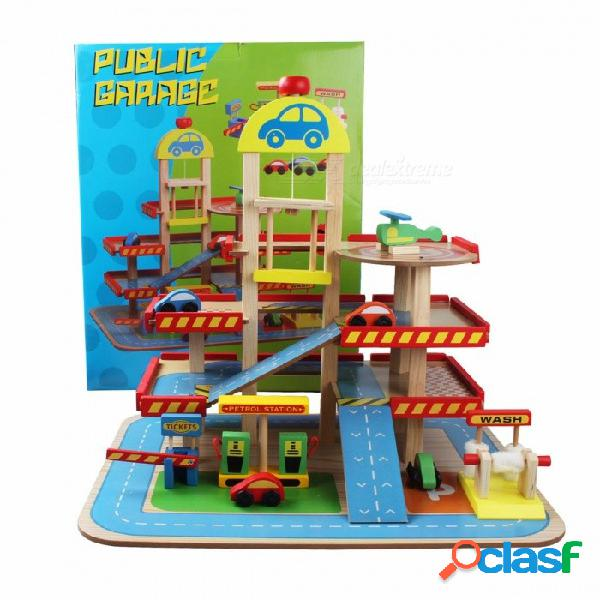 Shure niños simulación de madera juego de juguete para padres e hijos aparcamiento de madera juguetes de madera bricolaje cielo azul