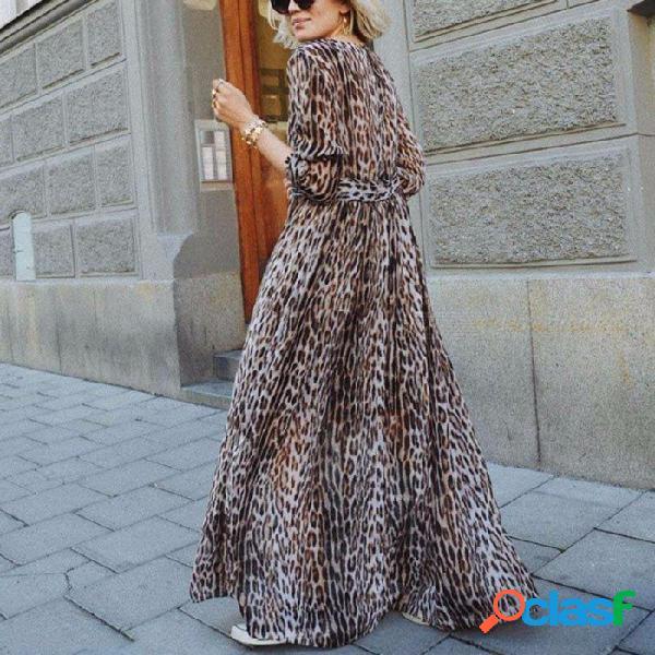 Vestido de leopardo con estampado profundo con escote en v y manga corta con cuello en v, manga larga, poliéster para las mujeres leopardo / s