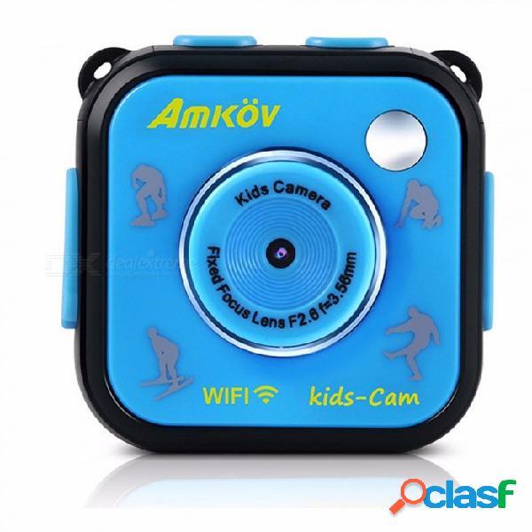 Amkov HD 1.77 Pulgadas A Prueba De Agua Cámara De Deportes Para Niños, Mini Videocámara Digital DV Para Niño Niña Regalo De Cumpleaños Azul