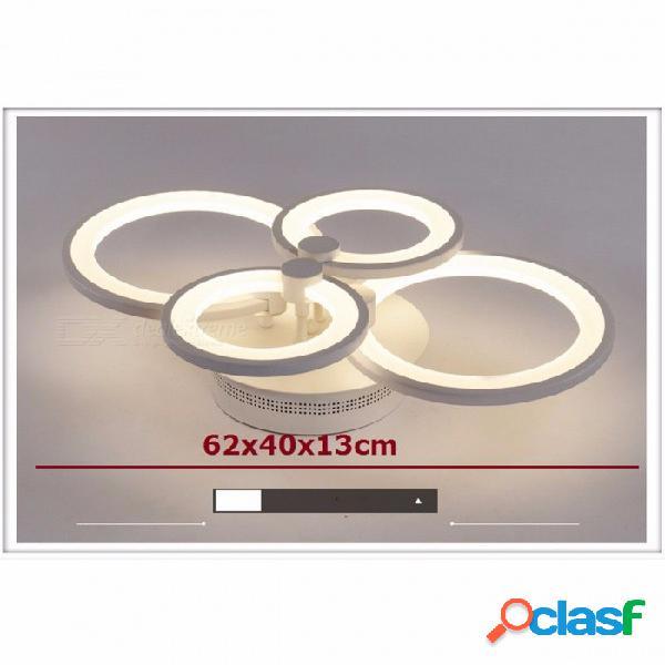 Candelabros de acabado blanco en forma de anillo, lámpara led moderna para colgar en el techo, lámpara de techo para iluminación interior de la sala 4 anillos 36w