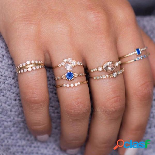 Europa caliente y américa flash conjunto de anillo de diamantes conjunto 8 pieza conjunto anillo de cristal femenino anillo de oro
