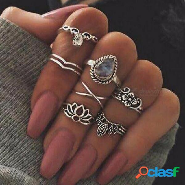 Europa y los estados unidos geometría gema de la flor hueca retro 7 piezas conjunto anillo de la joyería gema cristal anillo de plata