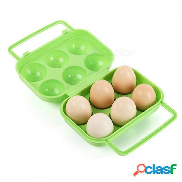 Jedx at6359 soporte para ranuras de 6 huevos, caja de almacenamiento de plástico para caminatas de camping