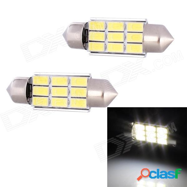 Lámpara de lectura para automóvil con decodificación de luz blanca led de 36 mm 4.5w 216lm 9 x smd 5630 led (12v / 2 pcs)
