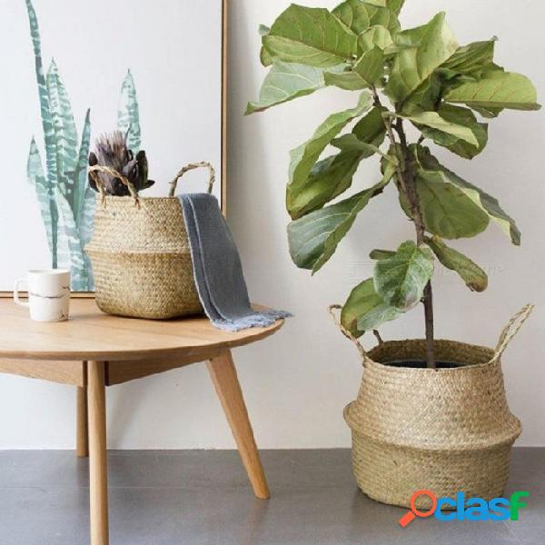 Plegable del hogar, hierba de mar, tejido natural, maceta de jardín, jarrón de flores, cesta colgante con asa de almacenamiento, cesta hinchada