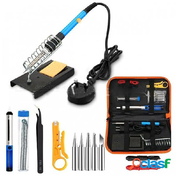 Soldador eléctrico de 60w de temperatura ajustable con puntas 5pcs, pinzas, kit de cables - azul + negro