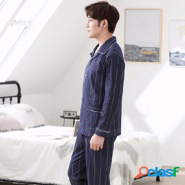 2018 pijamas de alta calidad de algodón pijama de manga larga a rayas establece para hombres ropa de dormir azul oscuro / l