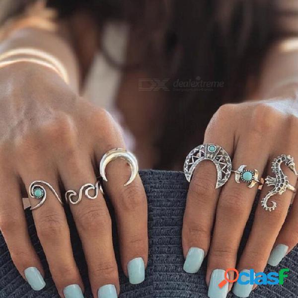 6 unids / lote caballo de mar luna midi anillo establece hipocampo cuerno bohemia vintage piedra nudillo anillos mujeres joyas de plata
