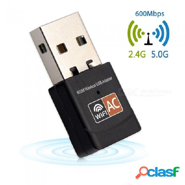 Adaptador wi-fi usb 600mbps antena wifi mini tarjeta de red ethernet de banda dual 2.4g / 5g receptor wifi 802.11a / g / n / ac para pc