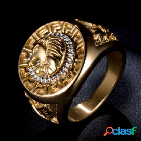 Alta calidad hip hop hombres estilo punk rapero cabeza de león estrella anillos dedo rapero anillo hombres