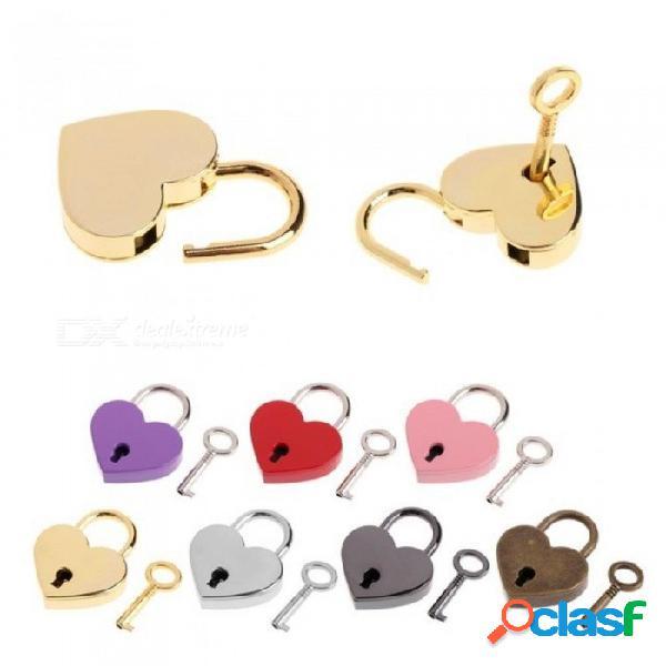 Forma de corazón vintage antiguo estilo antiguo mini candados de archaize cerradura con llave colores múltiples disponibles para la opción de bronce