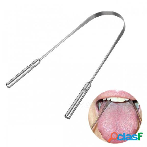 Limpiador de lengua de acero inoxidable genkent con mango de sílice, cepillo de limpieza raspador de lengua dental higiene oral para el cuidado oral púrpura