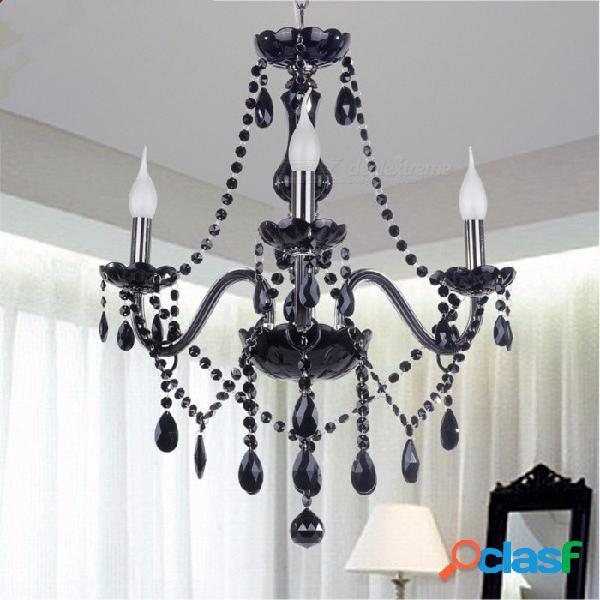 Nueva araña de lustres led de cristal k9 negro moderno, lámpara de techo para sala de estar dormitorio iluminación interior 10 luces