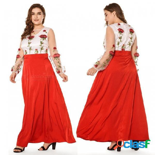 Vestido de las mujeres cintura alta más tamaño fiesta de la playa de organza con cremallera mujer elegante floral vestidos de manga larga para las mujeres rojo / xl