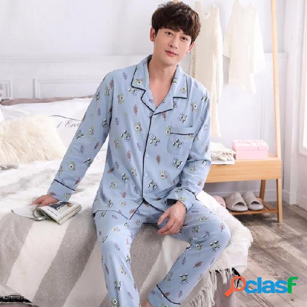 2018 pijamas de algodón de manga larga para hombre otoño invierno falda de impresión de solapa delgada pijama traje hombres pijama conjunto azul claro / l