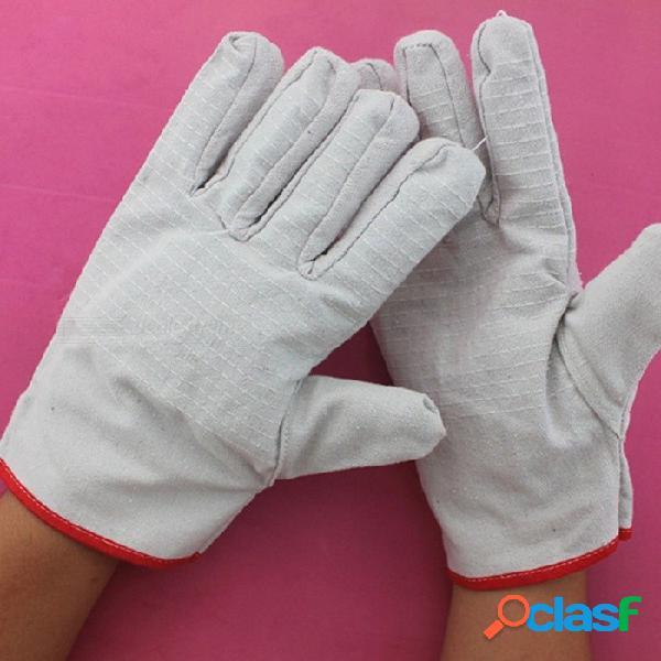 Guantes de tela gruesa de protección de doble capa, guantes de lona resistentes al desgaste para reparación de soldadura (1 par) blanco