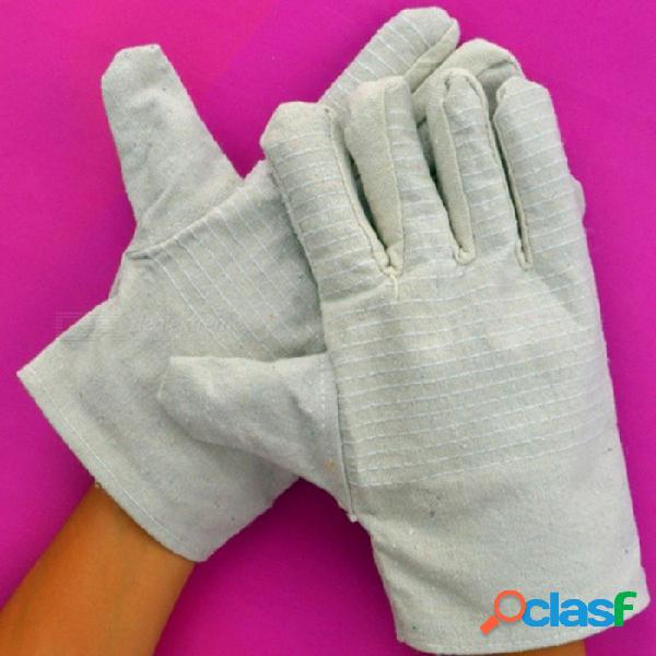 Guantes de tela gruesa de protección de doble capa, guantes de lona resistentes al desgaste para reparación de soldadura (10 pares) blanco
