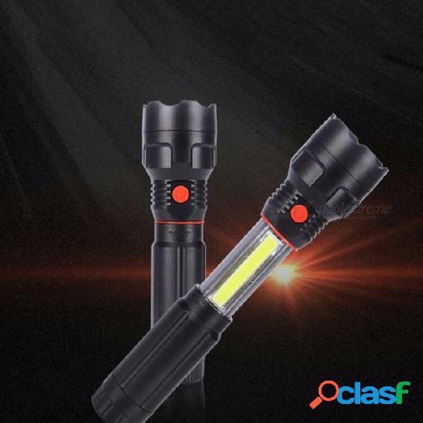 Linterna led estirable con luz de inspección de luz de trabajo cob magnética fuerte linterna de iluminación impermeable al aire libre blanco / negro